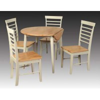Berlin Round Drop Leaf Dining Table Set (4 Chairs)